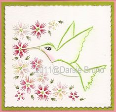 Pretty Hummingbird Floral Paper Embroidery Pattern for Greeting Cards via Etsy
