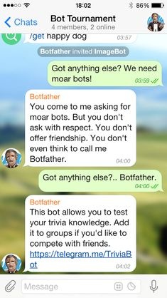 Telegram.me link and short info to easily share a bot.
