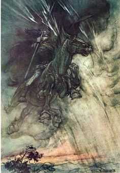 "Wotan furiously pursuing Brünnhilde (Act III, Scene II of ""Die Walküre""), from Arthur Rackham's illustrations to Wagner's Ring-cycle."