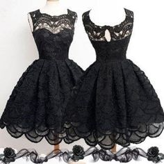 Black homecoming dress,homecoming dress with lace,simple homecoming dress,modest homecoming dress,vintage homecoming dress,casual homecoming dress. The black lace simplehomecoming dresses are fully lined, 4 bones in the bodice, chest pad in the bust, lace up back or zipper back are all available, total 126 colors are available.  This dress could be custom made, there are no extra cost to do custom size and color.  Description  1, Material: lace, tulle, elastic silk like stain.  2, Color…