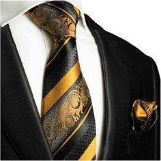 d3823bae851e Amazon.com: Gold and Black Silk Tie and Pocket Square Paul Malone Red Line