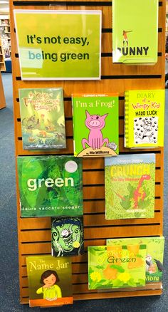 It's almost spring! Think green thoughts & check out a green book from the new children's display School Library Decor, Elementary School Library, Library Themes, Library Work, Kids Library, Library Activities, Library Lessons, School Libraries, Library Ideas