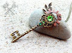 Steampunk Emerald Key Necklace / Green Forest by ArtbyStarlaMoore