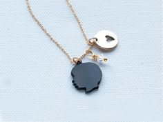 mother's day gift: custom silhouette charm necklace. love this so much.