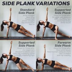 SIDE PLANK VARIATIONS: Continuing from yesterday's post. Here are some variations if you have trouble stabilizing or wrist issues. Yoga Flow, Yoga Meditation, Yoga Sequences, Yoga Poses, Side Plank Yoga, Pilates, Gym Douce, Gewichtsverlust Motivation, Plank Workout