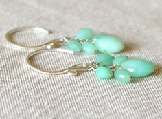 Chrysoprase Earrings Wire Wrapped Natural by StellaZigantiDesigns, $36.00