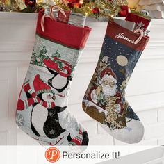 "Get that nostalgic yuletide feel in your home this holiday season! Polyester/cotton; spot clean. Fabric loop for hanging. 17 1/2"" l x 7 1/2"" w. Personalize for only $8 more. Name or message up to 10 letters Personalization location: Stocking cuff Personalization technique: Embroidered"