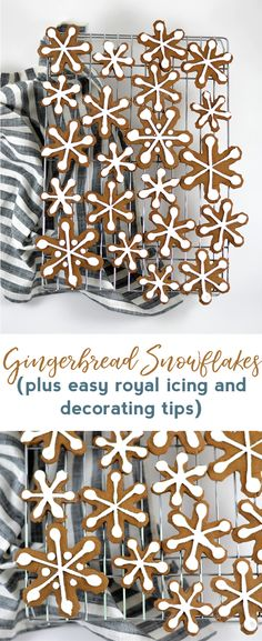 gingerbread snowflakes | gingerbread cookies | christmas cookies | christmas desserts | christmas recipe | royal icing | gingerbread | snow day activities | holiday entertaining