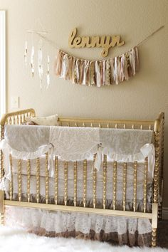 Jenny Lind Crib Painted Gold - LOVE!