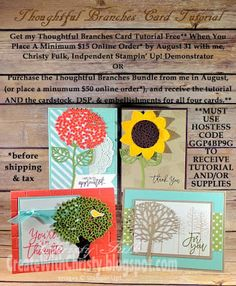 Stampin' Up! Thoughtful Branches Bundle - Four Seasons/Four Cards/One Stamp Set - Create With Christy: Free Illustrated, Step-by-Step Thoughtful Branches Cards Tutorial Offer From Me! - Christy Fulk, Independent SU! Demo