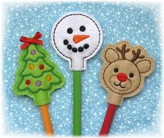 Christmas Pencil Toppers Set 1 FELT STITCHIES (in the hoop)