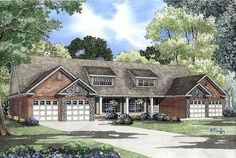 Multi-Family Plan 62357 |  Plan with 3162 Sq. Ft., 6 Bedrooms, 4 Bathrooms, 4 Car Garage