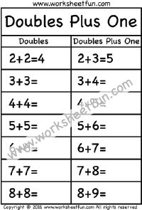 Doubles Plus One – 1 Worksheet