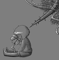 Idiot. ||| Flowey and Frisk ||| Undertale Fan Art by BamSaraKilledYou on DeviantArt