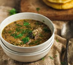 This traditional Georgian soup recipe for Kharcho is typically made with lamb, rice and a sour plum fruit roll known as tklapi. Dill is used as garnish.