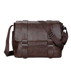 704cfaa8e06f New Men Vintage Shoulder Bag Cross-body Messenger Bag Black Brown faux  leather