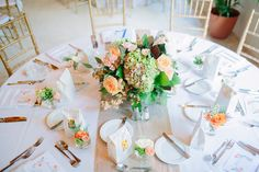 pink and green hydrangea and rose centerpieces by Simply Flowers / photo by thebigdayblog.com