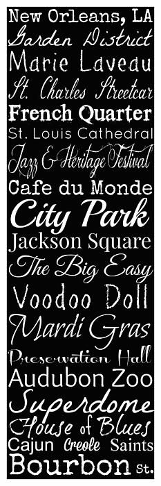New Orleans Louisiana typography print copyright Susan Bordelon