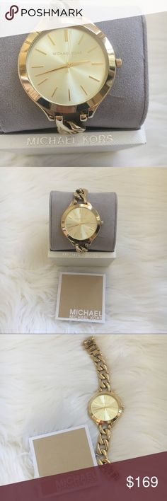 Micharl Kors watch Gold tone watch with chain band by Michael Kors. New without tags with some slight scratches on back . (Purchased this way ) Authentic 🚫trades MICHAEL Michael Kors Accessories Watches