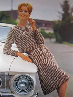 1960's Knitting Patterns, Vintage Patterns Women's Knit Skirt and Sweater Set 602S. $3.00, via Etsy.