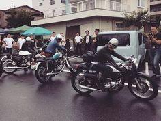 先日のcafé racer day 関西から参加の英國旧車軍団 BSA、triton、triumph  #lewisleathers #ルイスレザー #leatherjacket #vintageleatherjacket #motorcyclejacket  #redwing #rockers #caferacer #yamahacaferacer  #caferacerworld  #sr500  #sr400 #w650 #triumph #Norton #bsa #triton  #acecafe #acecafelondon  #tonupboys  #tonup