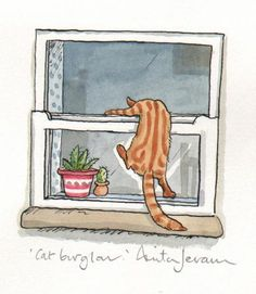 Anita Jeram - cat burgler  reminds me how we came into holiday houses when we hadn't got the key
