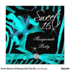 Sweet Sixteen 16 Masquerade Teal Zebra