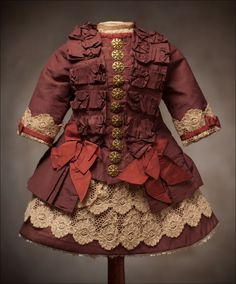 "Antique French Silk DRESS for Jumeau Bru Steiner Eden Bebe doll 22-23"" (55-58 cm). Antique dolls at Respectfulbear.com"