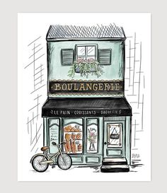 Leisurely biking through the streets of France, you spot a bakery. The scents of patisserie are wafting through its windows, practically pulling you inside. Park this print and its sentiments of sweet