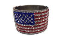 Brass base bangles made with rhinestones looks like flag of USA . #designer #stylish #usa