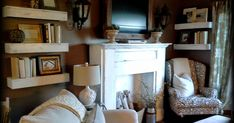 DIY Living Room Shelves   A poor woman's alternative to built-ins      Okay, so I LOVE the look of built-ins, BUT I can't afford all of the...