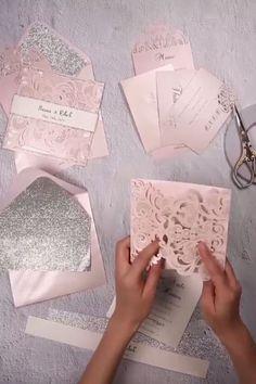 Silver Glittered Blush and Silver Laser Cut Wedding Invites EWTS010