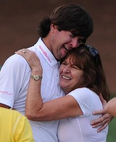 "Emotional Bubba Watson celebrates winning the Masters with his mom.   ""Just a good old boy from UGA!"""