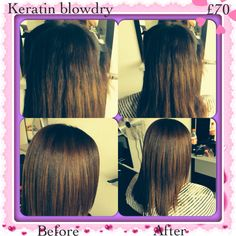 Before and after keratin blowdry