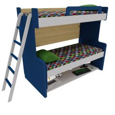 Our model Double Decker is space saving as good as it gets. Featuring a bunk bed and a massive desk, it's the most efficient way to organize young children small bedrooms without compromising in comfort. Kids Bed Design, Kids Bedroom Designs, Bunk Bed Designs, Room Design Bedroom, Small Room Design, Room Ideas Bedroom, Home Room Design, 3d Design, Cool Bunk Beds