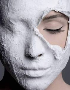 Photo Print: Zoe (F1 Online), Woman with plaster mask on her face, close-up