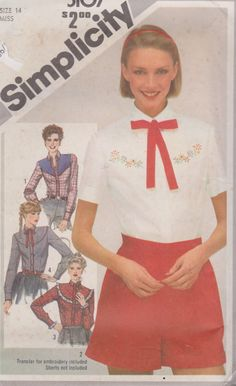 """1980's Sewing Pattern Women's Button Down Western Blouse with Long or Short Sleeves and Tie Size 14 Bust 36"""" Simplicity 5107 by Sutlerssundries on Etsy"""