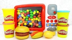 Pretend Play Doh Food Cooking Microwave Candy Hamburger Hotdog Chiken and more! #Microwave #PlayDoh #Cooking