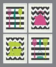 Kitchen Art Prints - Chevron and Stripes - Set of 4 - Home Decor - - In Fall 2012 Pantone Colors OR Choose your own colors Kitchen Art Prints, Kitchen Wall Art, Diy Kitchen, Wall Prints, Poster Prints, Chevron, Cuadros Diy, Deco Originale, Craft Gifts