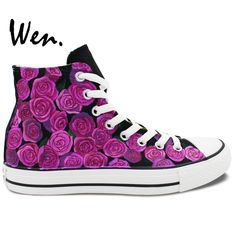 5dd4d79012f6 Wen Original Hand Painted Shoes Design Custom Purple Roses Flowers Birthday  Gifts for Women Girls High