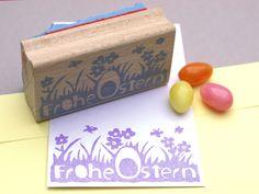 handgeschnitzter Stempel I Frohe Ostern N° 2 von STAMPelART® auf DaWanda.com