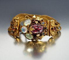 Vintage Brass Chain Purple Glass Opaline Bracelet