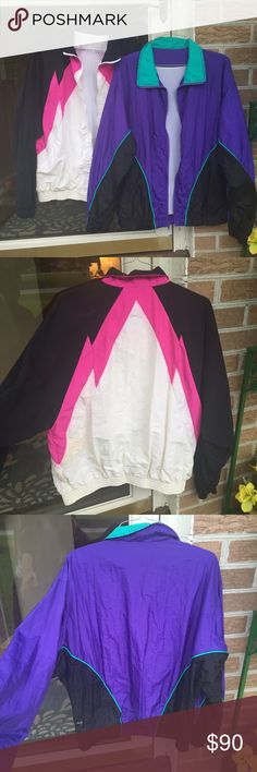 Vintage Windbreaker Bundle (Will sell separately!) Pink/Black/White: medium or large Purple/Black/Blue: Large... Both fit the same size though. Flaws shown in picture 4. Jackets & Coats Puffers