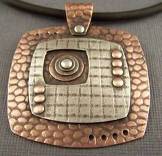 Copper and Sterling Silver Mixed Metal Mod Squares by lpjewelry Metal mixing done right.  I'll also pin the back. Mixed Metal Jewelry, Metal Clay Jewelry, Copper Jewelry, Polymer Clay Jewelry, Pendant Jewelry, Jewelry Art, Jewelry Design, Copper Necklace, Mixed Metals