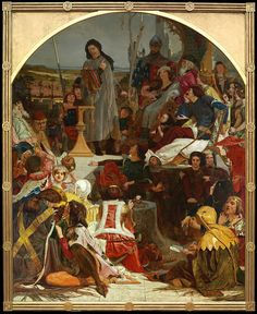 Ford Madox Brown - Chaucer at the court of Edward III . The young man down left is probably William Deverell
