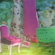 """""""Pink Hat"""" by Marie Felba :  Acrylique et collages sur carton toilé de 20x20cm"""