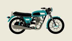 Honda CB 750 Motorcycle 1970 Blue Print from Dark City Gallery Green Motorcycle, City Gallery, Dark City, Cafe Racer Build, Ad Art, Honda Cb, Bike Art, Silk Screen Printing, Studios