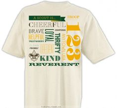 Boy+Scout+Law+Word+Jumble+-+Boy+Scout™+Troop+Design+SP3611 Boy Scout Law, Cub Scout Uniform, Boy Scouts, Boy Scout Patches, Family Reunion Shirts, Shirt Sale, Christian Shirts, Things To Buy, Troops