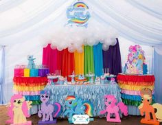 "My Little Pony Birthday Decorations Beautiful Rainbow Dash My Little Pony Birthday ""layla S Rainbow My Little Pony Party, Fiesta Little Pony, Cumple My Little Pony, Rainbow Dash Party, Rainbow Dash Birthday, Rainbow Theme, Rainbow Wall, Unicorn Birthday Parties, Birthday Party Decorations"
