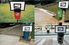 Quién no siente ganas de tirar una bola de papel a estos basureros, y Nike se aprovecha de esto.